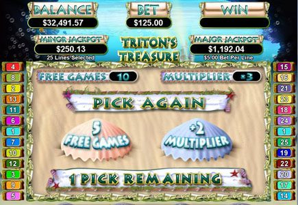 Dreams featuring the Video Slots Triton's Treasure with a maximum payout of $250,000