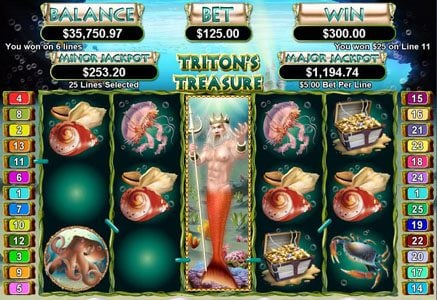 Cool Cat featuring the Video Slots Triton's Treasure with a maximum payout of $250,000
