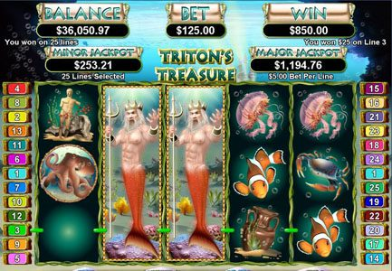 Prism featuring the Video Slots Triton's Treasure with a maximum payout of $250,000