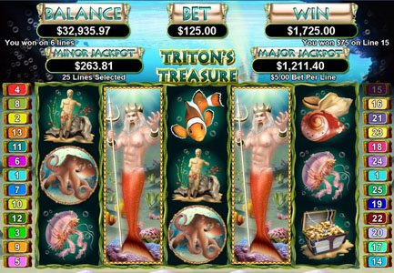 Bodog featuring the Video Slots Triton's Treasure with a maximum payout of $250,000