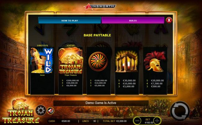 Boaboa featuring the Video Slots Trojan Treasure with a maximum payout of $300,000