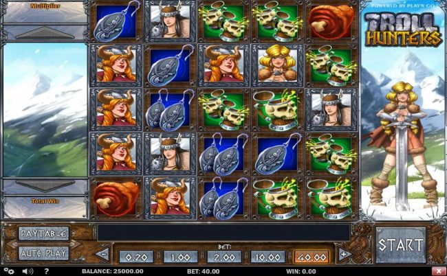 Troll Hunters :: Main game board featuring five reels with a $40,000 max payout