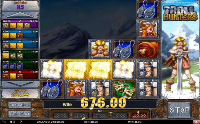 Troll Hunters :: Multiple winning combinations triggers a 676.00 big win!