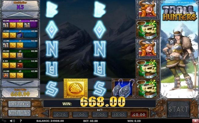 Bonus feature triggered once all of the symbols are cleared from a column thus revealing the word BONUS.