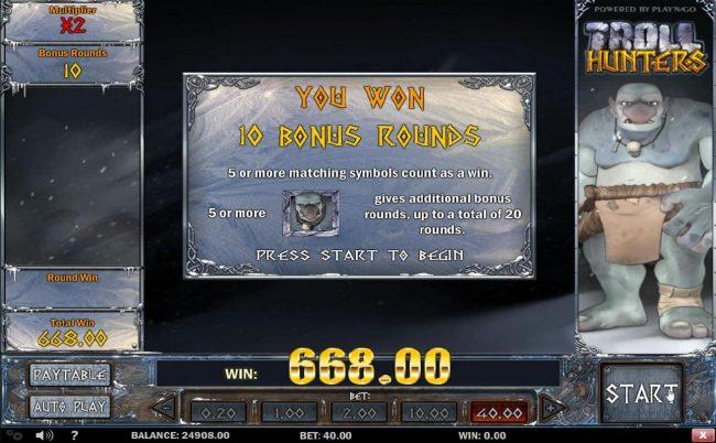 10 bonus rounds awarded.