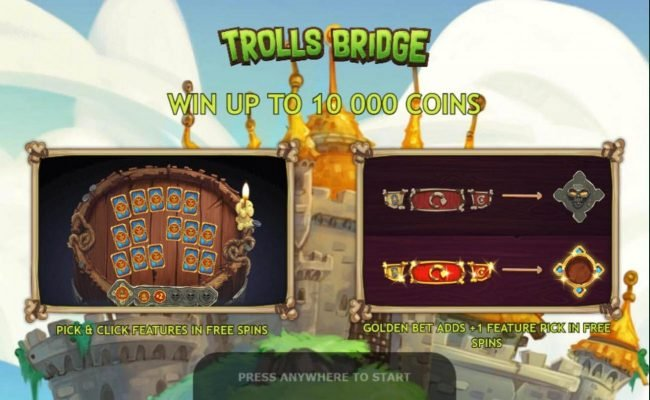 Trolls Bridge :: Game features include: Pick and Click feature and Golden Bet. Win up to 10,000 coins!