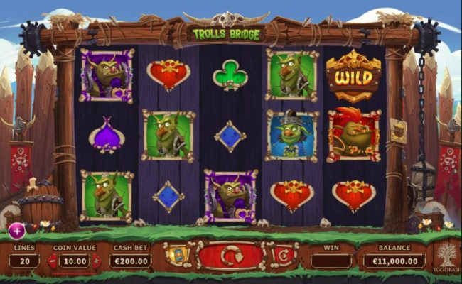 Trolls Bridge :: Main game board featuring five reels and 20 paylines with a $10,000 max payout.