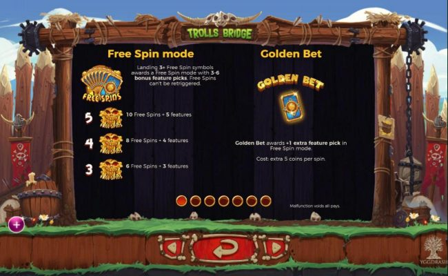 Trolls Bridge :: Free Spin Mode Rules and Golden Bet Rules