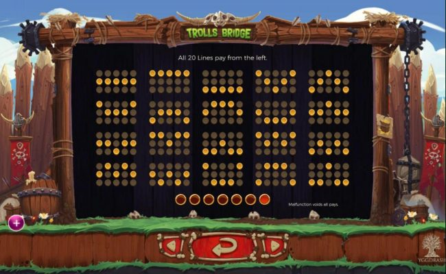 Play slots at Wild Tornado: Wild Tornado featuring the Video Slots Trolls Bridge with a maximum payout of $10,000
