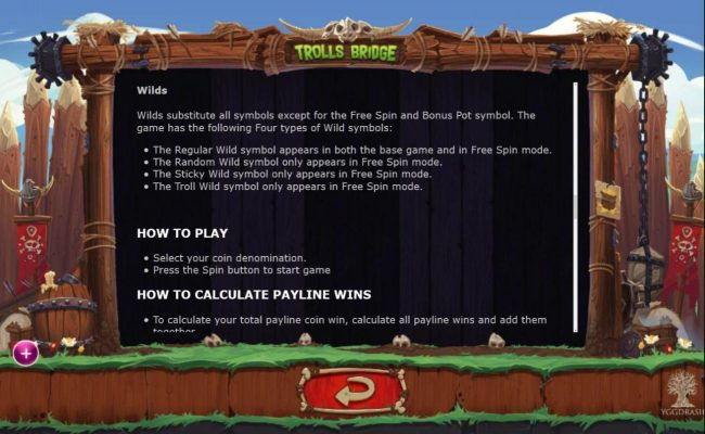 Mr Green featuring the Video Slots Trolls Bridge with a maximum payout of $10,000