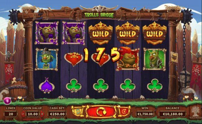Trolls Bridge :: A 5-of-a-kind pays out a 1,750.00 cash prize.
