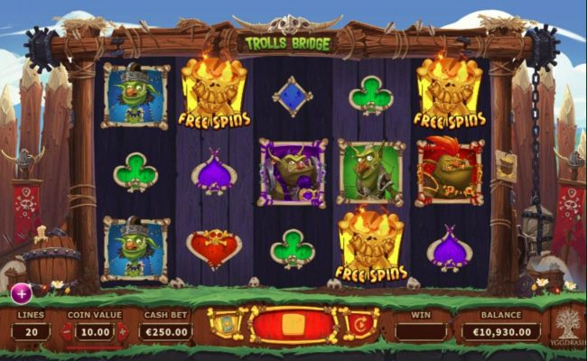 Trolls Bridge :: Free spins bonus feature activated.