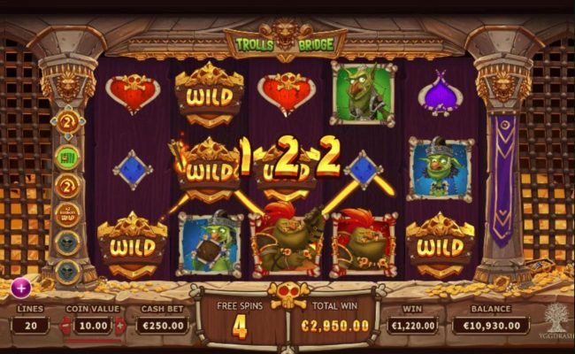 Trolls Bridge :: Multiple winning paylines triggers a 122 coin big win during the free games feature!