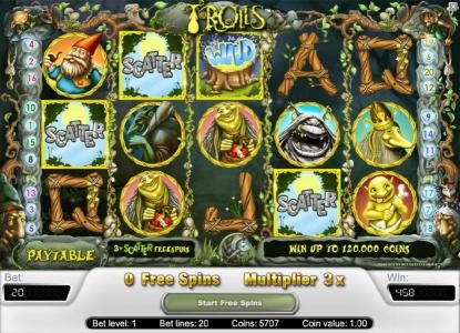 Zinger Spins featuring the Video Slots Trolls with a maximum payout of $40,000