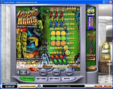 LesA Casino featuring the Video Slots Tropic Reels with a maximum payout of $62,500