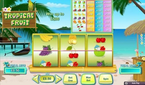 Tropical Fruit :: Main game board featuring three reels and 1 paylines with a $100,000 max payout