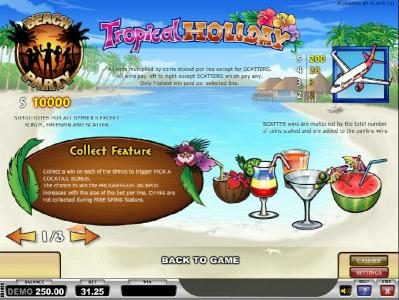 TS featuring the Video Slots Tropical Holiday with a maximum payout of Jackpot