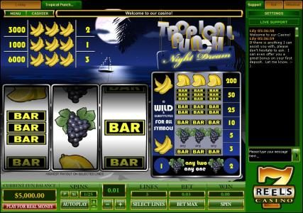 Tropical Punch - Night Dream :: classic video slot game featuring three reels and 3 paylines