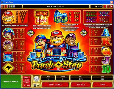 Vegas Slot featuring the Video Slots Truck Stop with a maximum payout of $2,000