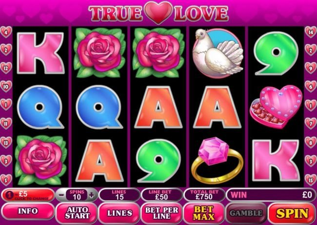 LesA Casino featuring the Video Slots True Love with a maximum payout of $500,000