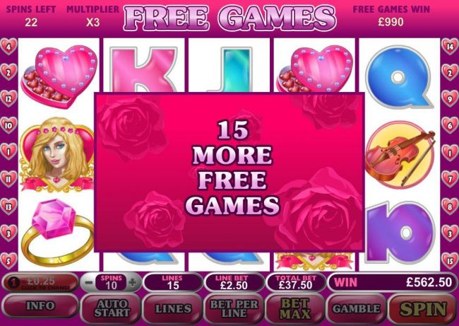 Free Spins can be re-triggered during the free games feature