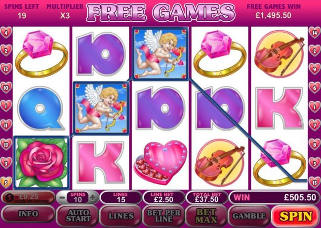 Fly Casino featuring the Video Slots True Love with a maximum payout of $500,000