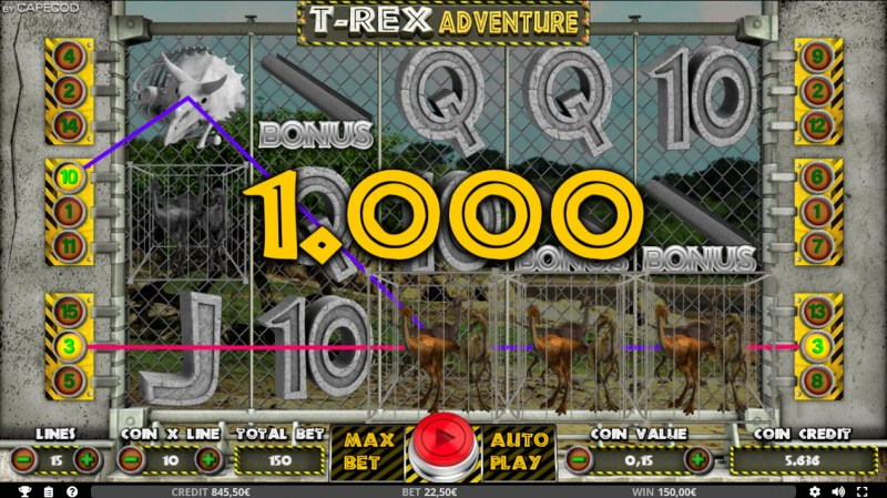 T-Rex Adventure :: Multiple winning paylines
