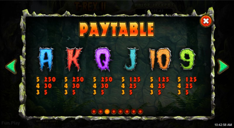 T-Rex II :: Paytable - Low Value Symbols