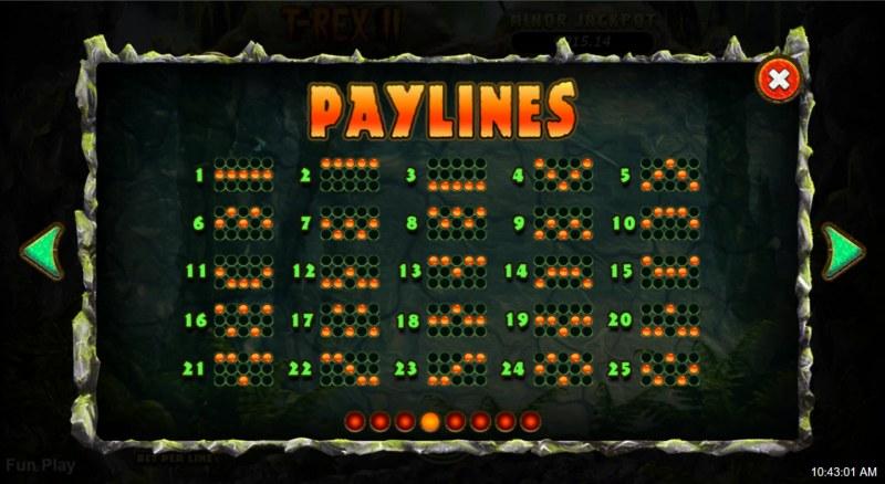 T-Rex II :: Paylines 1-25