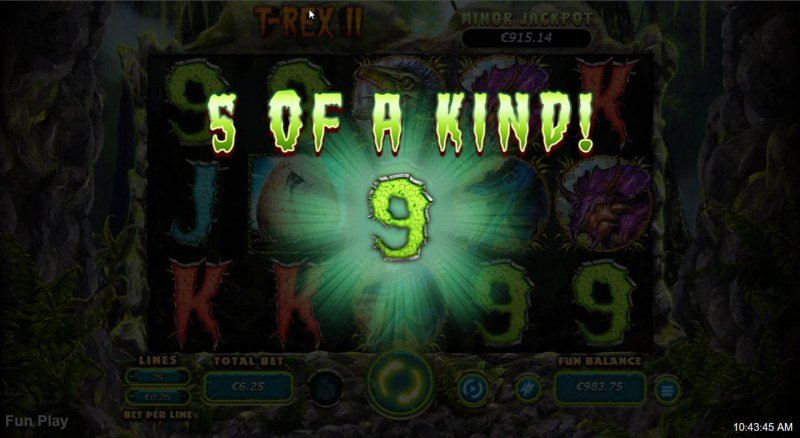 T-Rex II :: A five of a kind win