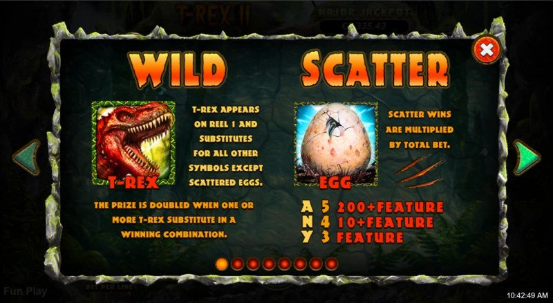 T-Rex II :: Wild and Scatter Rules