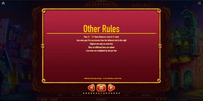 Taberna De Los Muertos :: General Game Rules