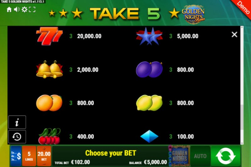 Take 5 Golden Nights Bonus :: Paytable