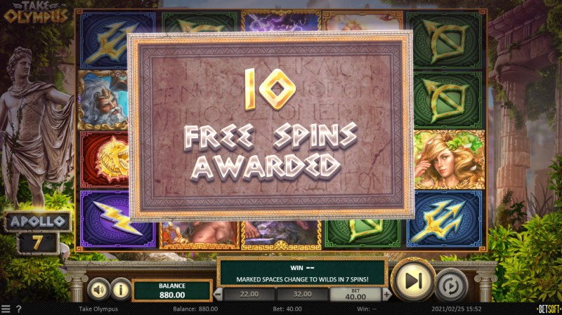 Take Olympus :: 10 free spins awarded