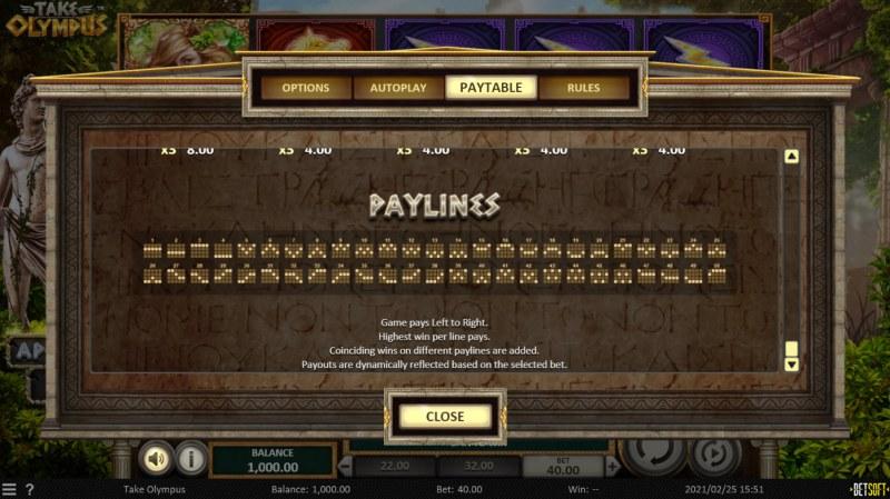 Take Olympus :: Paylines 1-50