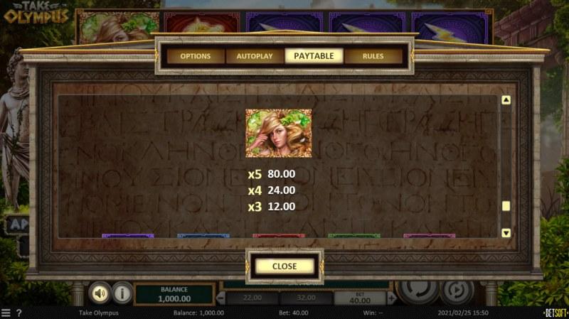 Take Olympus :: Paytable - High Value Symbols