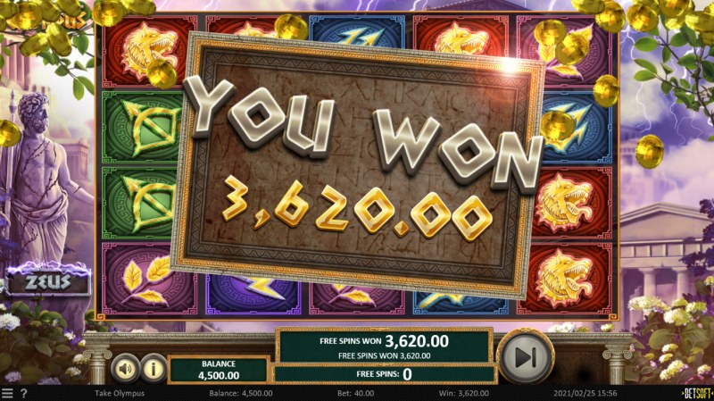 Take Olympus :: Total Free Spins Payout