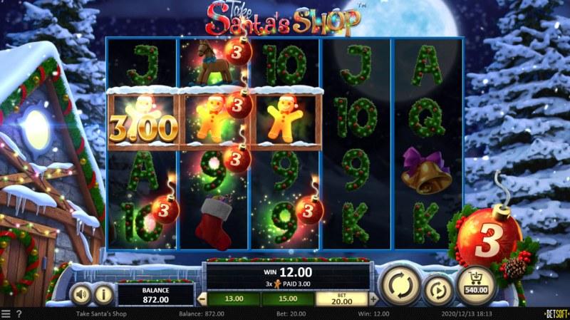 Take Santa's Shop :: A three of a kind win