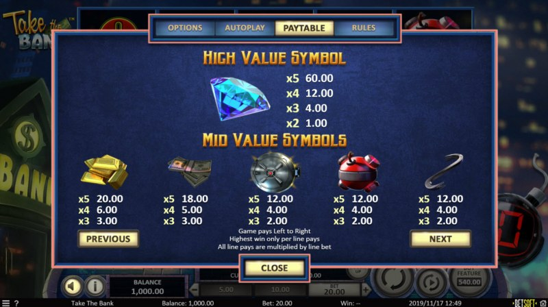 Take the Bank :: Paytable - High Value Symbols
