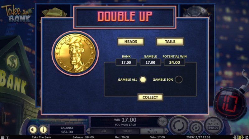 Take the Bank :: Heads or Tails Gamble Feature