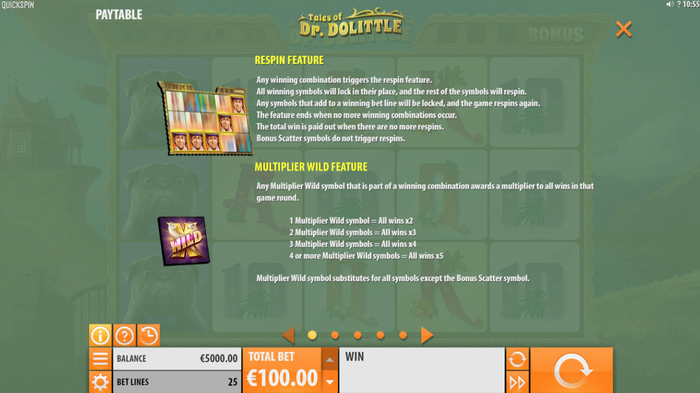 Play slots at Spinrider: Spinrider featuring the Video Slots Tales of Dr. Dolittle with a maximum payout of $8,000