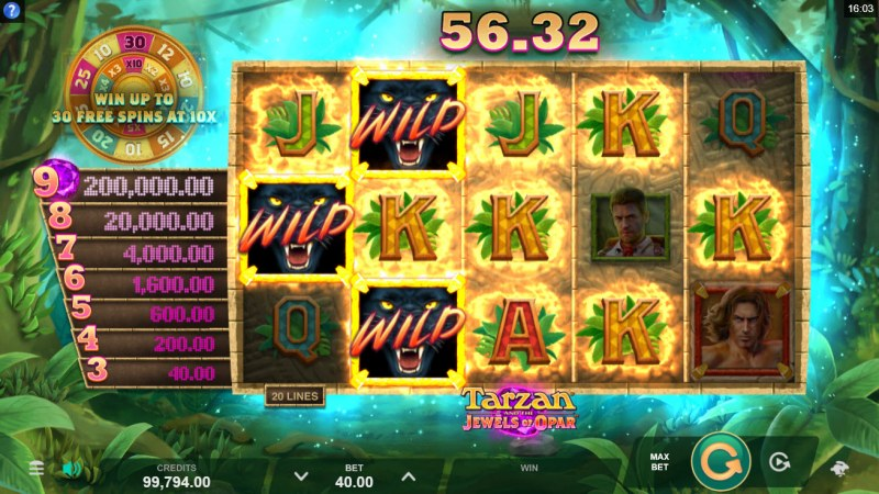 Tarzan and the Jewels of Opar :: Multiple winning paylines