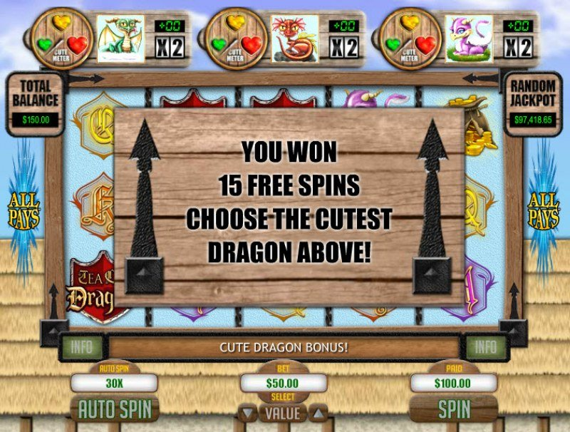 Play slots at Mega 7's: Mega 7's featuring the Video Slots Tea Cup Dragons with a maximum payout of $1,250