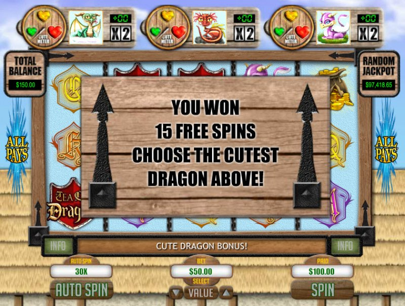 Tea Cup Dragons :: 15 Free Spins Awarded