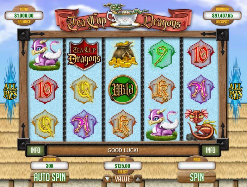 Play slots at iNET Bet: iNET Bet featuring the Video Slots Tea Cup Dragons with a maximum payout of $1,250