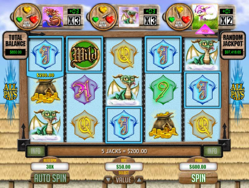 Play slots at Slotastic: Slotastic featuring the Video Slots Tea Cup Dragons with a maximum payout of $1,250