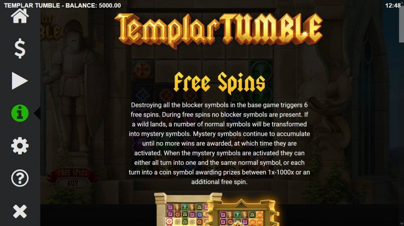 Templar Tumble :: Free Spin Feature Rules