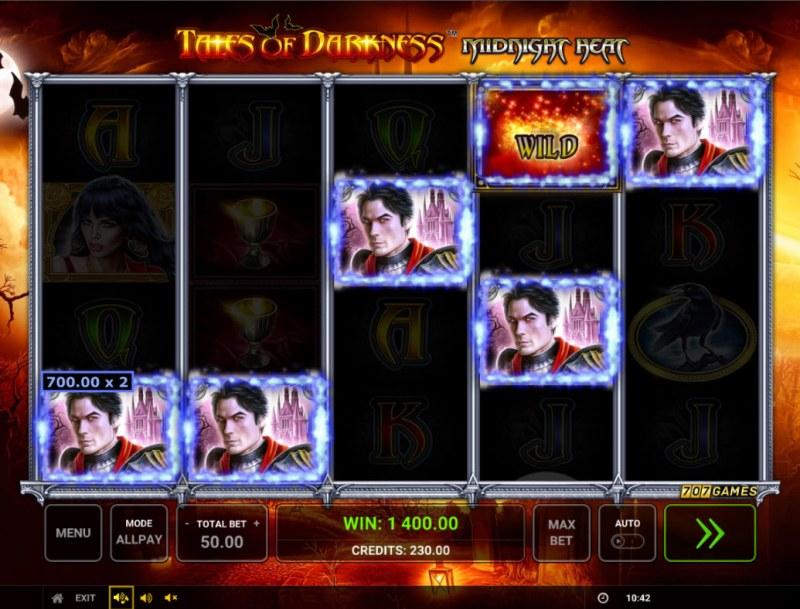 Temple of Darkness Midnight Heat :: A five of a kind win