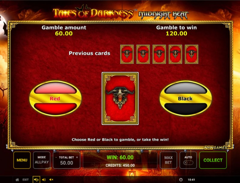 Temple of Darkness Midnight Heat :: Red or Black Gamble Feature