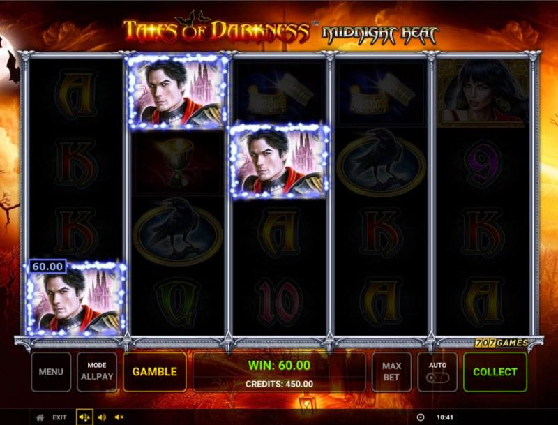 Temple of Darkness Midnight Heat :: A three of a kind win